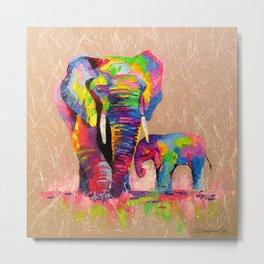 Elephants mother and son Metal Print