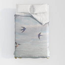 barn swallows, day lilies, and chicory Comforters