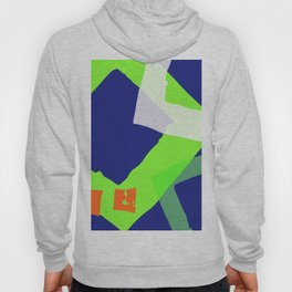 Abstract Lime Green Navy Blue Geometric Squares Hoody