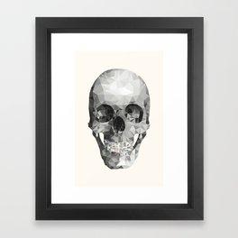 Diamond Teeth Skull - White Framed Art Print