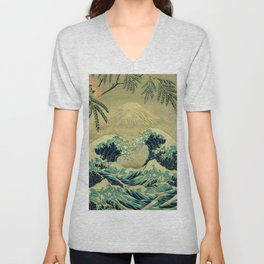 The Great Blue Embrace at Yama Unisex V-Neck