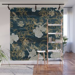 Indigo Stripes with Flowers Wall Mural