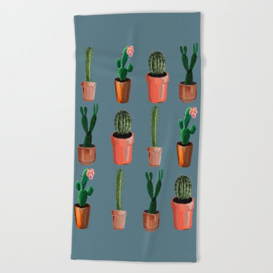 Various Cacti Blue Beach Towel