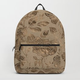 Vintage Pastel Gold Rose Floral pattern Backpack