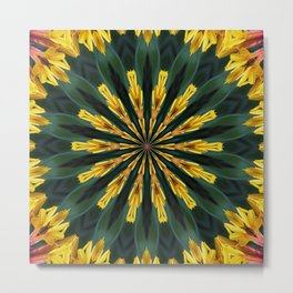 A Fanfare of Gaillardia Flowers Kaleidoscope Mandala Metal Print