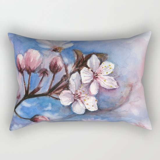 Cherry Blossoms Watercolor Spring Flowers Rectangular Pillow