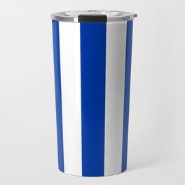 Royal azure - solid color - white vertical lines pattern Travel Mug