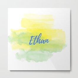 Yellow Green Watercolor Ethan Metal Print