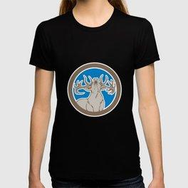 Stag Deer Roaring Circle Retro T-shirt