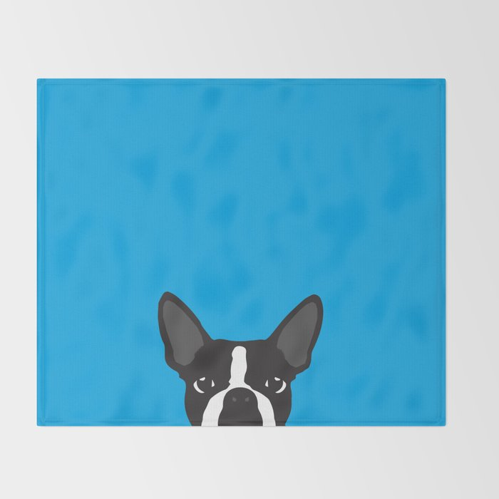 Boston Terrier Blue Throw Blanket