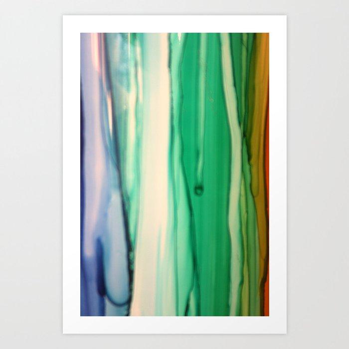 Green and White Art Print