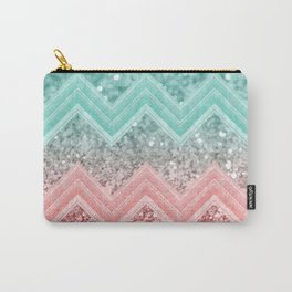 Summer Vibes Glitter Chevron #1 #coral #mint #shiny #decor #art #society6 Carry-All Pouch