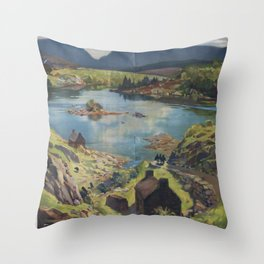Southern Irleand Vintage Travel Poster Throw Pillow