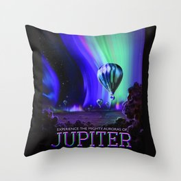 NASA Jupiter Planet Retro Poster Futuristic Best Quality Throw Pillow