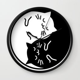 Cute cats Yin Yang sign Wall Clock