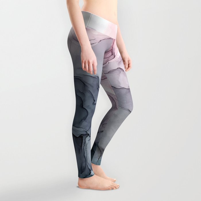Blush and Payne's Grey Flowing Abstract Painting Leggings