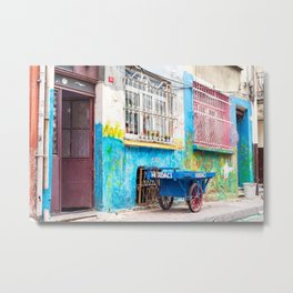 """Travel Photography """"colorful street photography taken in Balat, Istanbul"""" with blue and pink colors. Abstract fine art photo print.  Metal Print"""