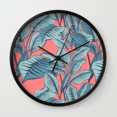 Pink Exotic Tropical Banana Palm Leaf Print Wall Clock