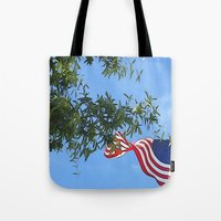 american flag Tote Bags featuring American Flag  by KCavender Designs