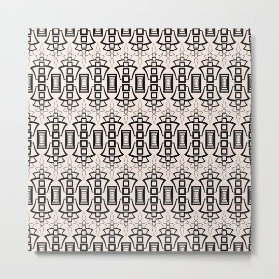 Art Deco 12 . Black and beige pattern . Metal Print