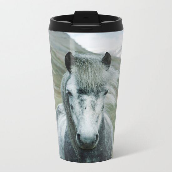 Grey Horse Metal Travel Mug