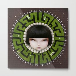 girl with fantasy collar green maze Metal Print