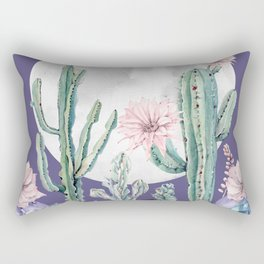 Desert Cactus Full Moon Succulent Garden on Purple Rectangular Pillow