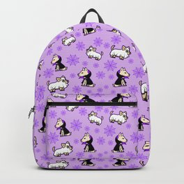 Spooky Halloween Purple Dog Pattern Backpack