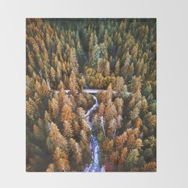 forest aerial view in yosemite Throw Blanket