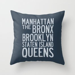 Boroughs of New York City - Blue Throw Pillow