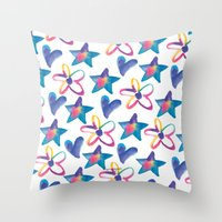 girly Throw Pillows featuring Girly by mariorigami
