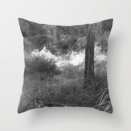 Black and white country forest Throw Pillow