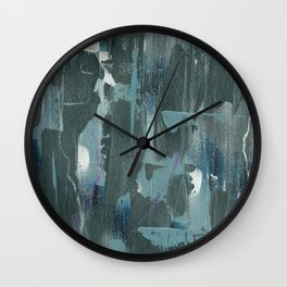 Blue and Green Abstract Acrylic Painting Wall Clock