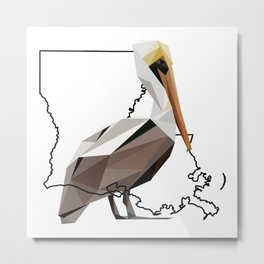 Louisiana – Pelican Metal Print