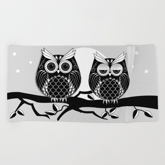 Graphic vector owl on branch in B&W Beach Towel