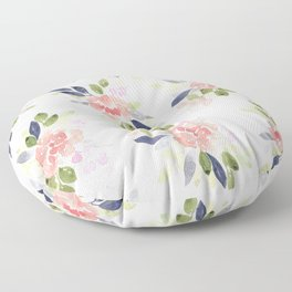 Peach & Nvy Watercolor Flowers Floor Pillow