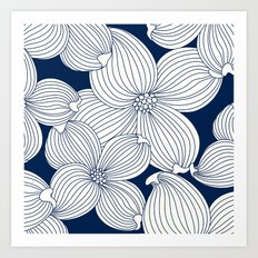 Dogwood Big Linear Floral: Navy Ivory Art Print