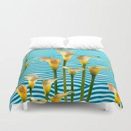 Calla Lilies  Blue Rippling Water Graphic Art Duvet Cover
