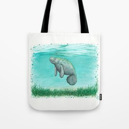 """""""Mossy Manatee"""" by Amber Marine ~ Watercolor & Ink Painting, (Copyright 2016) Tote Bag"""