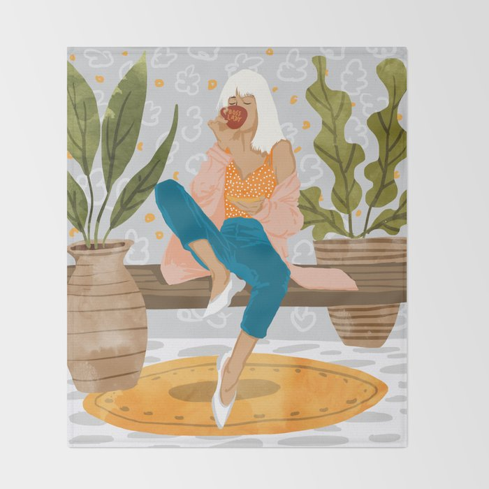 Boss Lady #illustration #painting Throw Blanket