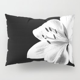 White Lily Black Background Pillow Sham