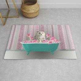 Grey Owl Turquoise Bathtub Lotus Flower Blossoms #owl #bathtub Rug