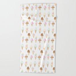 Watercolor Ice Cream Cones Beach Towel