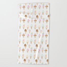 Watercolor Ice Cream Cones Beach Towel
