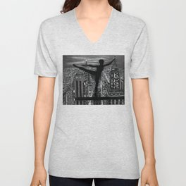 Untitled - Charcoal Drawing - ballet, cityscape, female figure, silhouette Unisex V-Neck