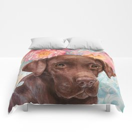 Flowers and Chocolate (chocolate lab dog watercolor portrait painting) Comforters