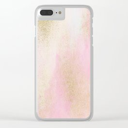 Pretty In Pink And Gold Delicate Abstract Painting Clear iPhone Case