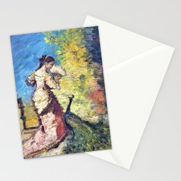 12,000pixel-500dpi - Adolphe Monticelli - Woman with Peacock - Digital Remastered Edition Stationery Cards
