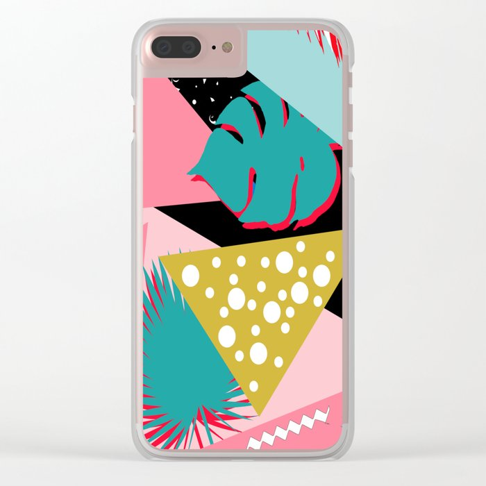 tropical mix colors Clear iPhone Case