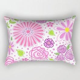 Happy Spring Flowers Rectangular Pillow